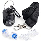 Jaysea Noise cancelling ear plugs | Sound hearing protection at Concerts | Gigs | Band practice | Festivals | Nightclubs | Factory work | Ideal for Drummers & Musicians | DJ's | Motorcycle riders | Motor sports | Clay pigeon shooting | Sleeping while Traveling | Made from quality silicone | 2 size options included | Aluminium carry case with karabiner included