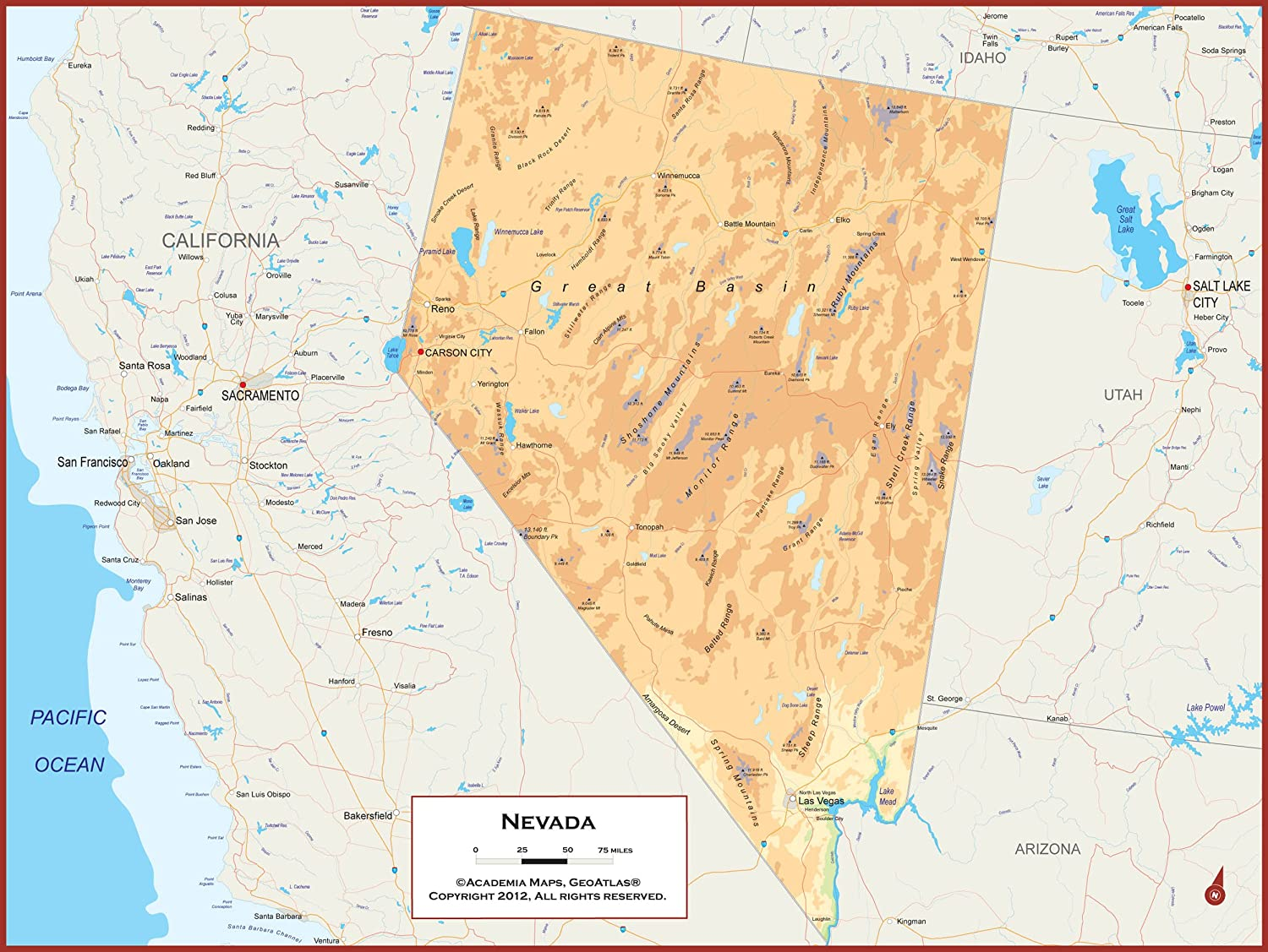 Political Map Of Nevada.Amazon Com Academia Maps Nevada State Wall Map Fully Laminated