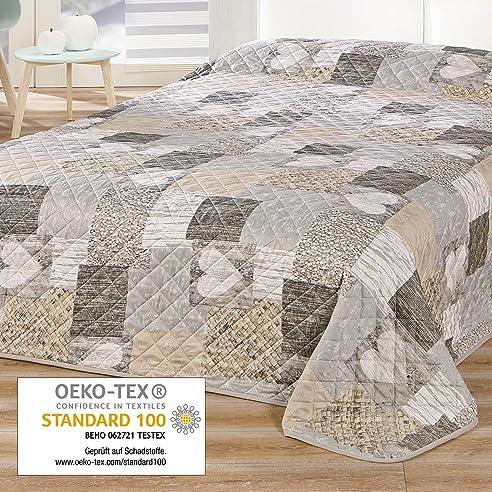Delindo Lifestyle® Tagesdecke Bettüberwurf Herzen / Für Doppelbett