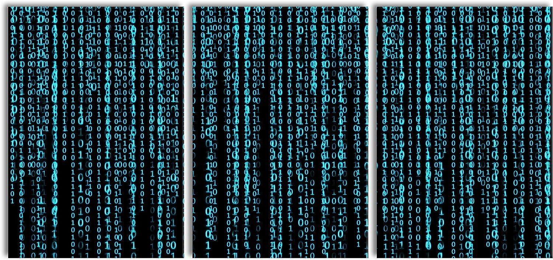 Wandbild Kunstdruck Pixxprint Matrix als XXL Leinwandbild in /Übergr/ö/ße 180x80cm Gesamtma/ß 3 teilig