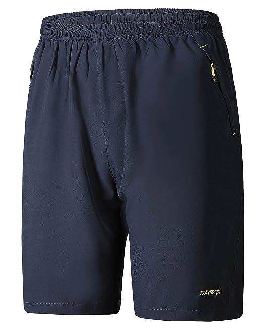 Byqny Hombre Pantalones Cortos Bolsillo Lateral Con Cremallera Casual Elásticos Pantalones Cortos Pantalones Deportivos YeO28X