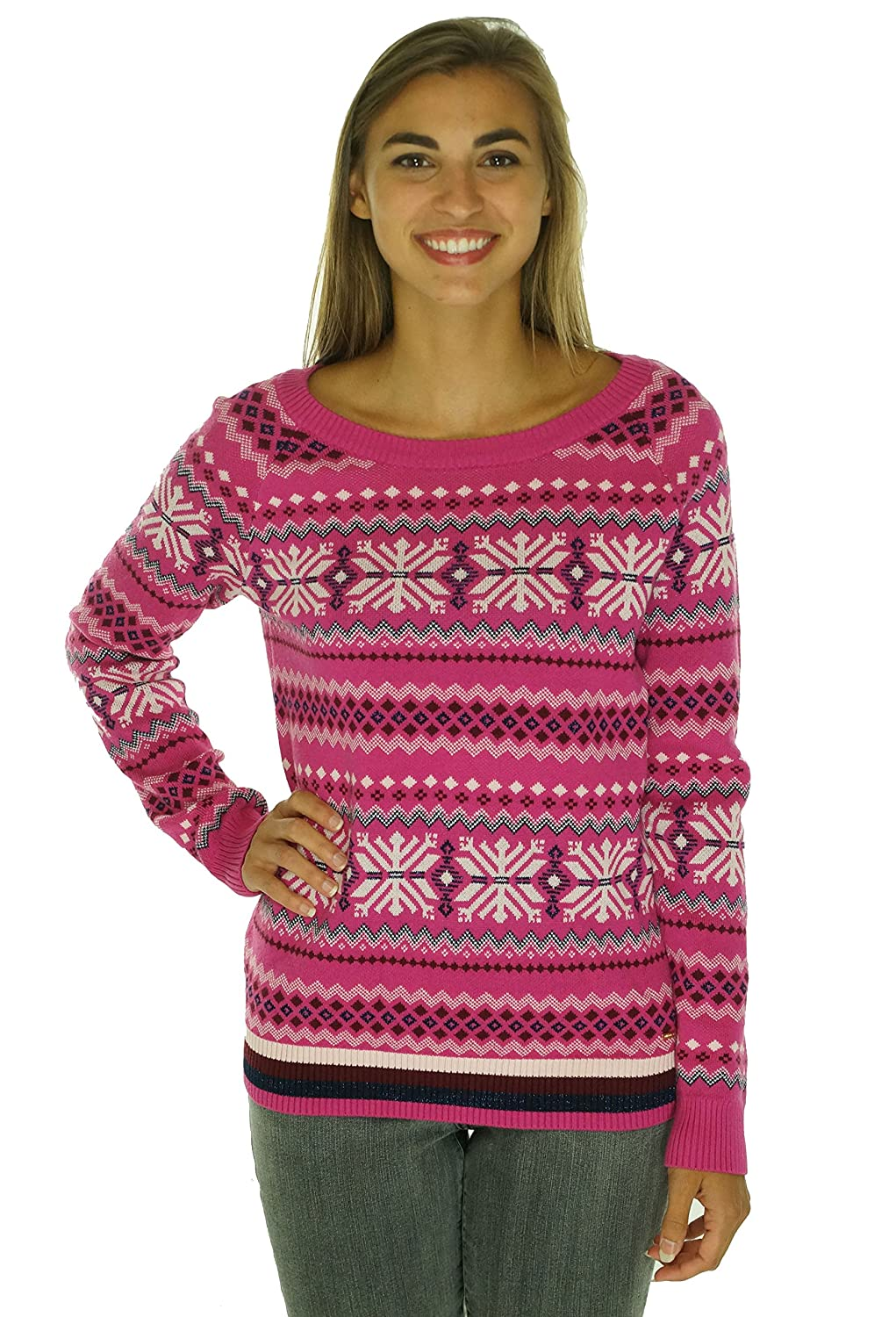 Tommy Hilfiger Womens Printed Metallic Pullover Sweater