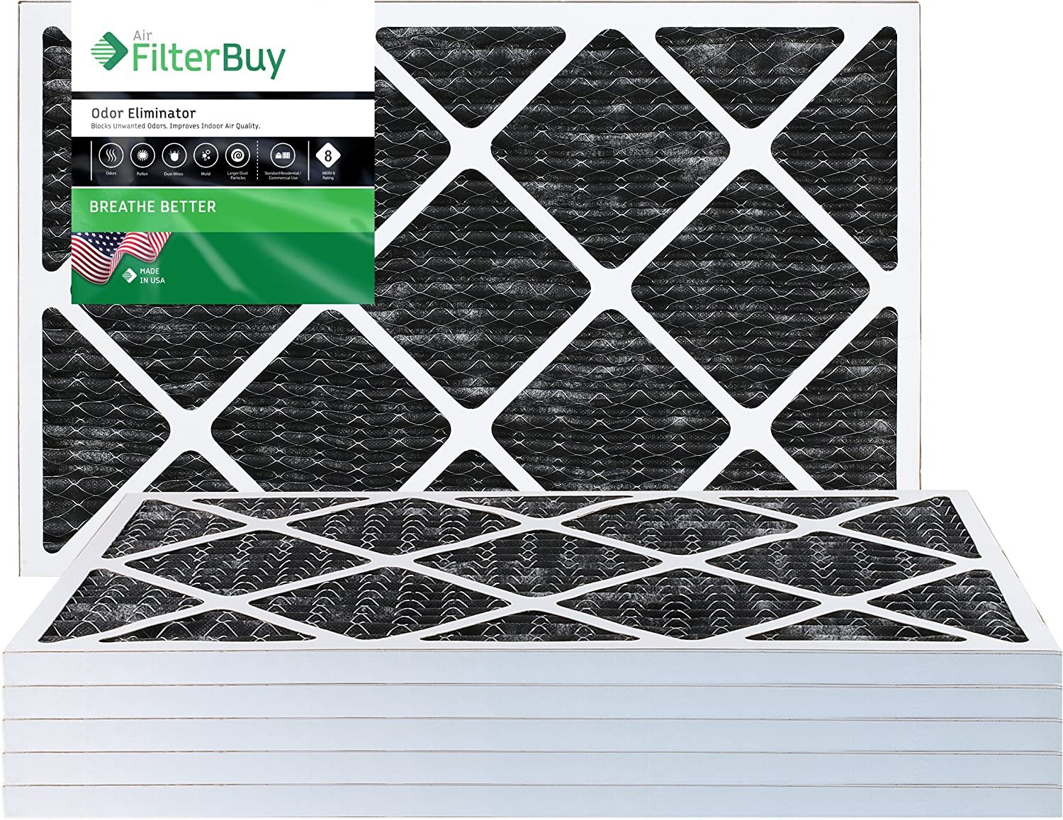 FilterBuy Allergen Odor Eliminator 12x24x1 MERV 8 Pleated AC Furnace Air Filter with Activated Carbon Pack of 6-12x24x1