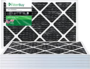 FilterBuy 14x24x1 Air Filter MERV 8 (Allergen Odor Eliminator), Pleated HVAC AC Furnace Filters with Activated Carbon (6-Pack, Black)