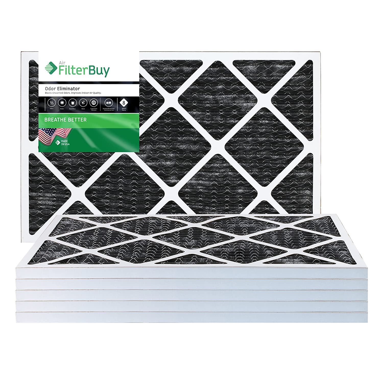 Pack of 4-20x25x1 FilterBuy Allergen Odor Eliminator 20x25x1 MERV 8 Pleated AC Furnace Air Filter with Activated Carbon