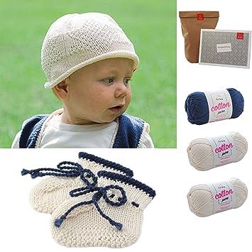 Babyschuhe stricken + Babymütze stricken * Baby DIY Socken + Mütze Sternenhimmel * Babysocken stricken Set – Strick Set mit 3 Knäuel Baumwolle Cotton