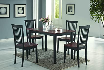 Coaster Home Furnishings 5 Piece Modern Transitional Rectangular Dining Set    Tobacco/Black