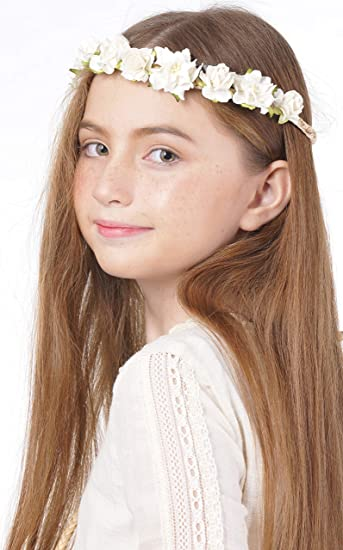 Amazon white flower crown headband for wedding festivals wreath white flower crown headband for wedding festivals wreath boho garland mightylinksfo