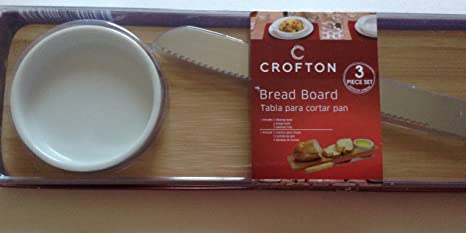 3 Piece Cutting Board Set with Bamboo Serving Tray Bread Knife and Dipping Bowl