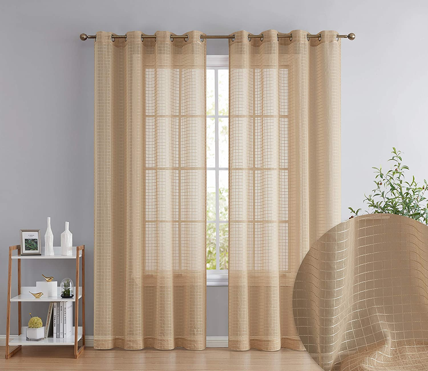 HLC.ME Buffalo Check Gingham Pattern Light Filtering Semi Sheer Voile Window Curtain Grommet Panels for Small Windows - Perfect for Bathroom & Kitchen - Set of 2 (Taupe, 54