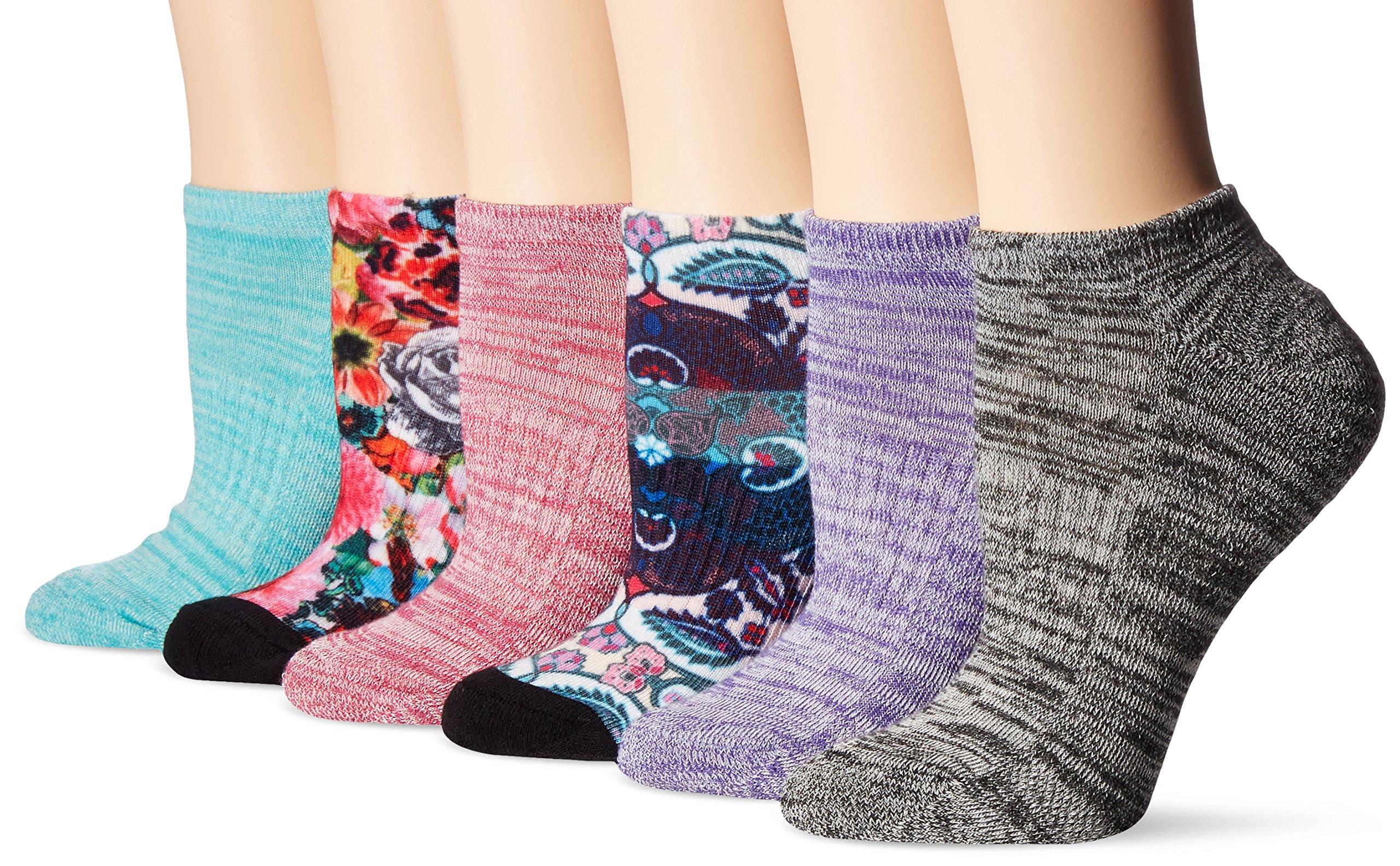 Union Bay Women's Performance Comfort Fit No Show, Purple Paisley, 9-11 Sock/Shoe Size 6-10.5