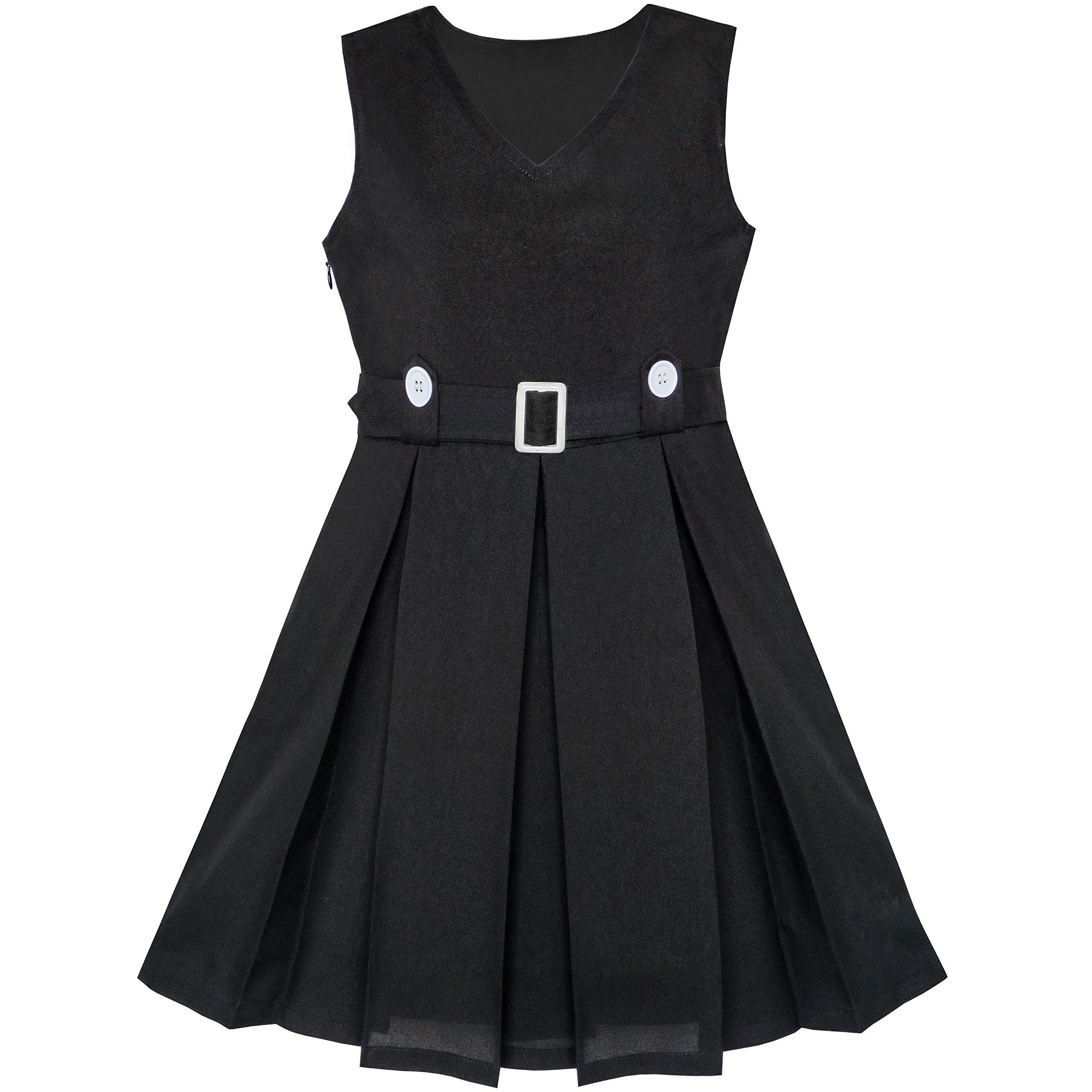 LA16 Girls Dress Black Button Back School Pleated Hem Size 14