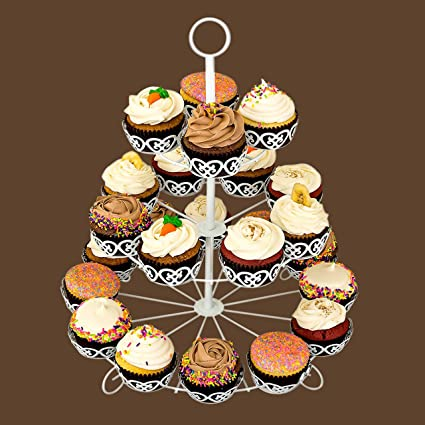 Buy Kurtzy Metal Cupcake Stand Tower Display For Birthday Party Wedding Celebrations Occasions 3 Tier Holder 24 Muffins And Desserts White Online At
