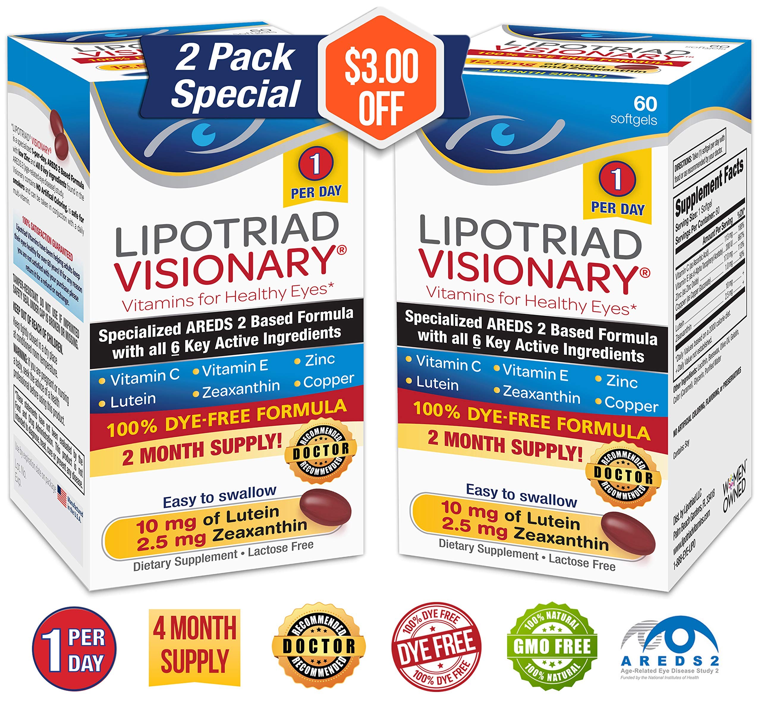 Lipotriad Visionary 1 Per Day AREDS 2 Eye Vitamin & Mineral Supplement   W/All 6 Key Ingredients in The AREDS 2 Study   Dye Free, Low Zinc, Safe for Smokers, Easy to Swallow   2 Pack, 4 Mo Supply