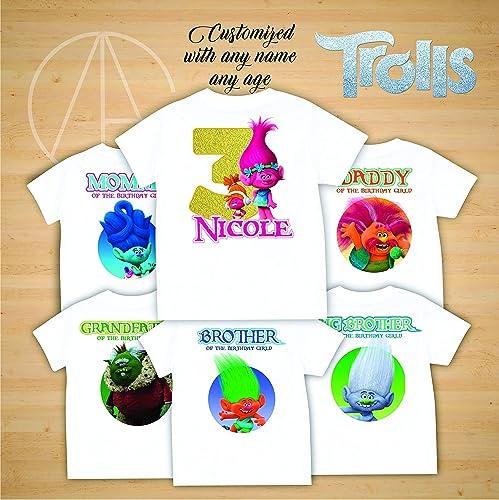 b22803c2 Amazon.com: Trolls birthday shirt, Trolls Poppy Branch birthday tshirt,  Trolls theme party shirts, Trolls family shirts, Trolls matching shirts:  Handmade