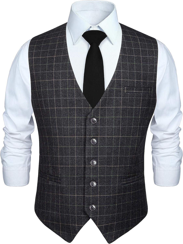 HISDERN Mens Suit Vest Business Formal Dress Vest for Tuxedo Slim Fit Cotton Plaid Waistcoat Wedding