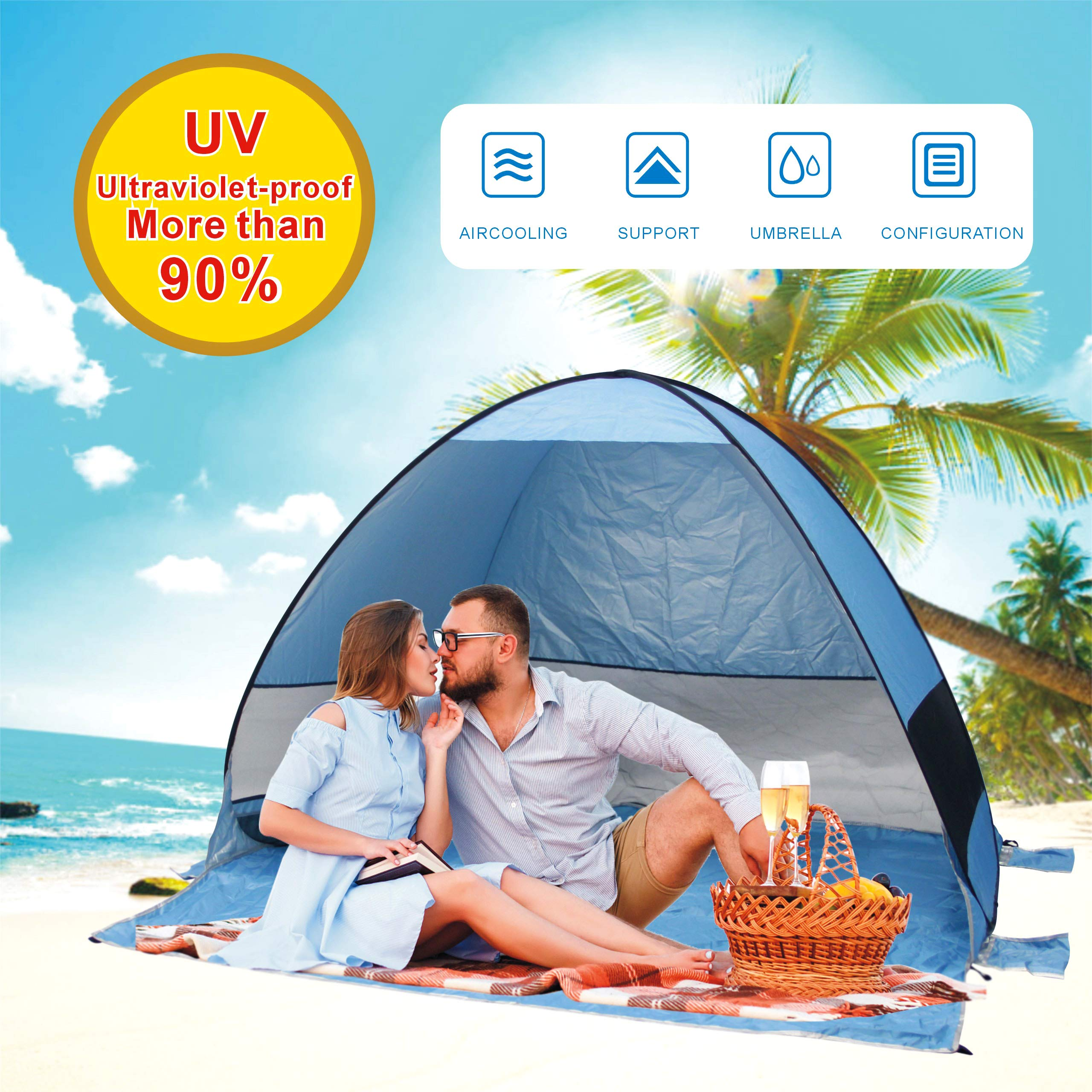 Gupamiga Beach Tent,Tents for Camping, Pop Up Tent Sun Shade Instant Tent Sun Shelter Pop Up with Tent Stakes Waterproof Portable UPF 50+ UV Protection Tent for Outdoor Family Camping Hiking Fishing by Gupamiga