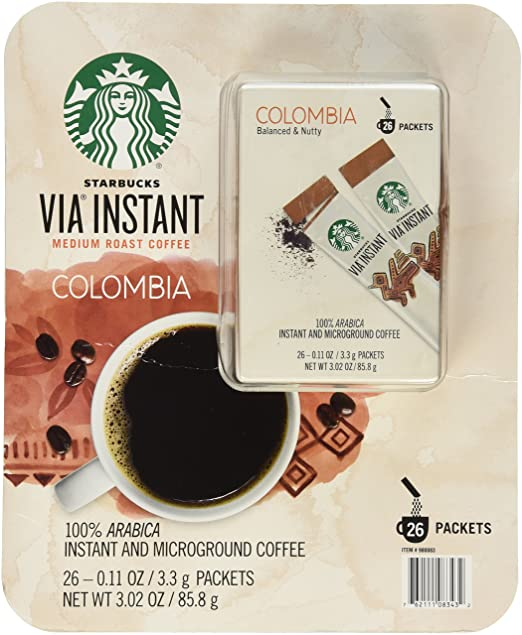 Starbucks Via Instant Medium Roast Colombia Coffee 26count