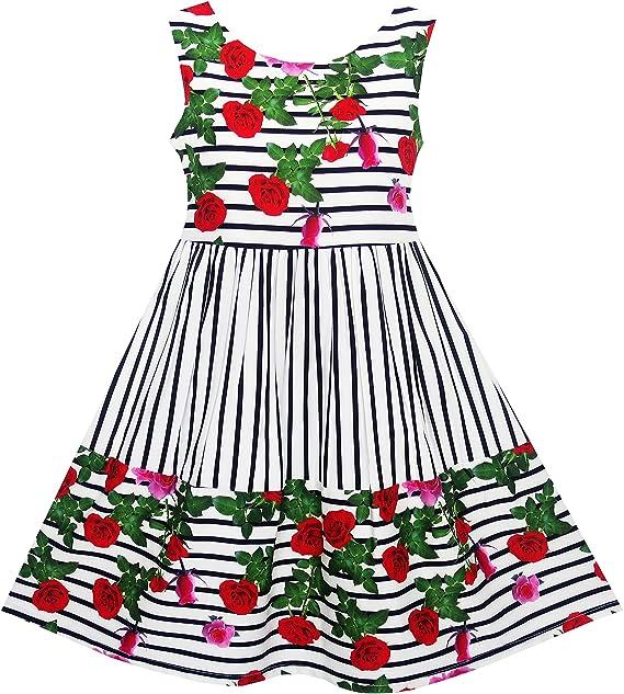 Sunboree Mädchen Kleid Gestreift Rot Rose Bogen Binden Prinzessin ...