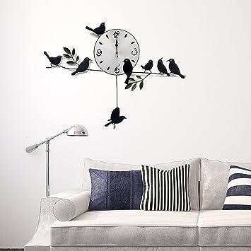Amazon.de: Schwarze Vögel Wand Uhr Kunst Designer Modern Familie ...