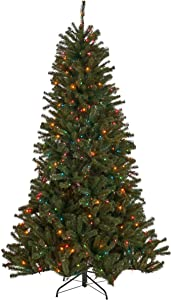 Christopher Knight Home 307325 9-Foot Noble Fir Pre-Lit Colored Hinged Artificial Christmas Tree, Green + Multi Lights