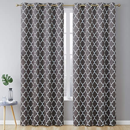 Hlc Me Lattice Print Pattern Thermal Insulated Blackout Room Darkening Energy Efficient Window Curtain Grommet Panels For Bedroom Dining Room And
