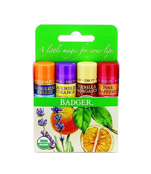 Badger Balm DY417 - Bálsamo labial clásico, Set Paquete verde 1 x 4 x palo: Amazon.es: Belleza
