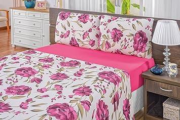 77bf18fa84 Jogo de Cama Quality 04 Peças Bia Enxovais Rosa Queen Tecido  Amazon ...