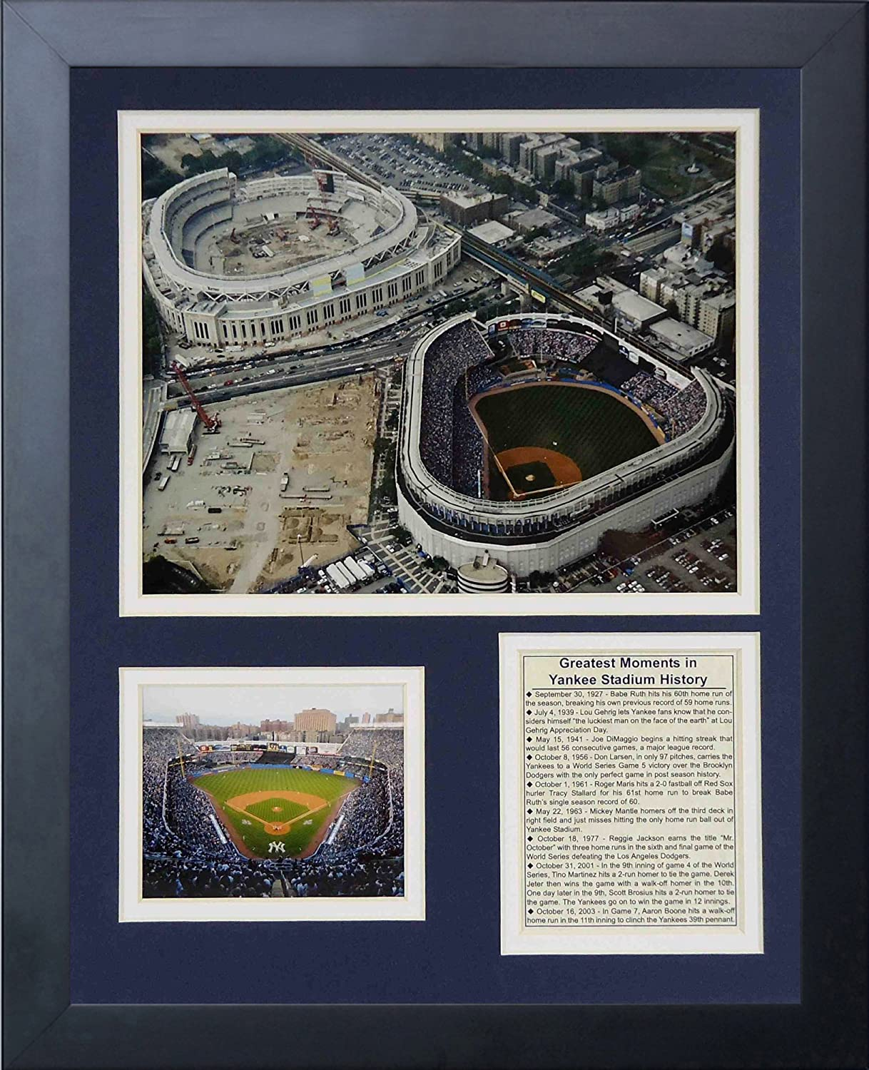 Legends Never Die Yankee Stadium Old and New Construction Framed Photo Collage 11x14-Inch