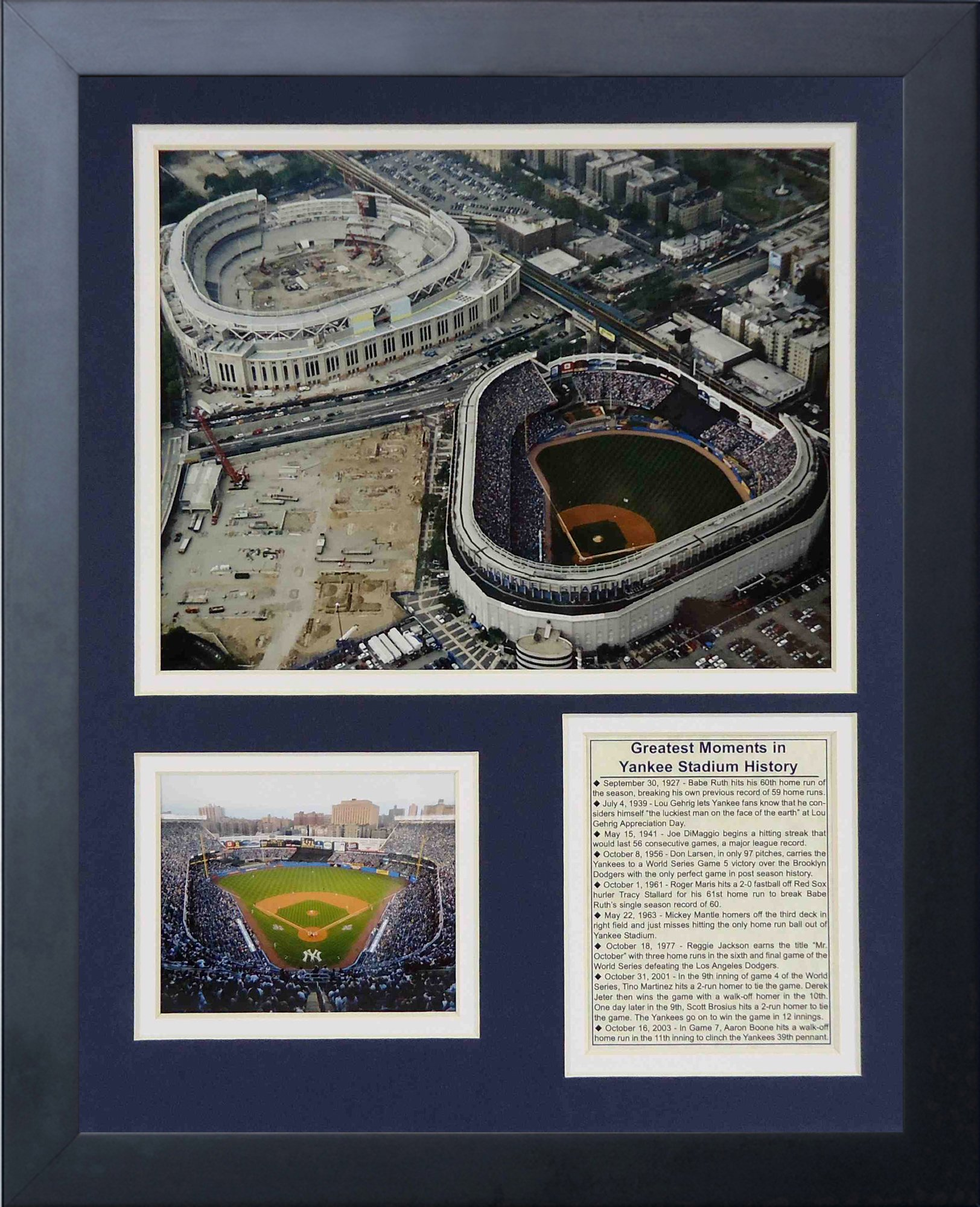 Legends Never Die Yankee Stadium Old and New Construction Framed Photo Collage, 11x14-Inch by Legends Never Die