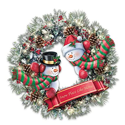 Amazon Com Thomas Kinkade Light Up Holiday Wreath With Sculpted