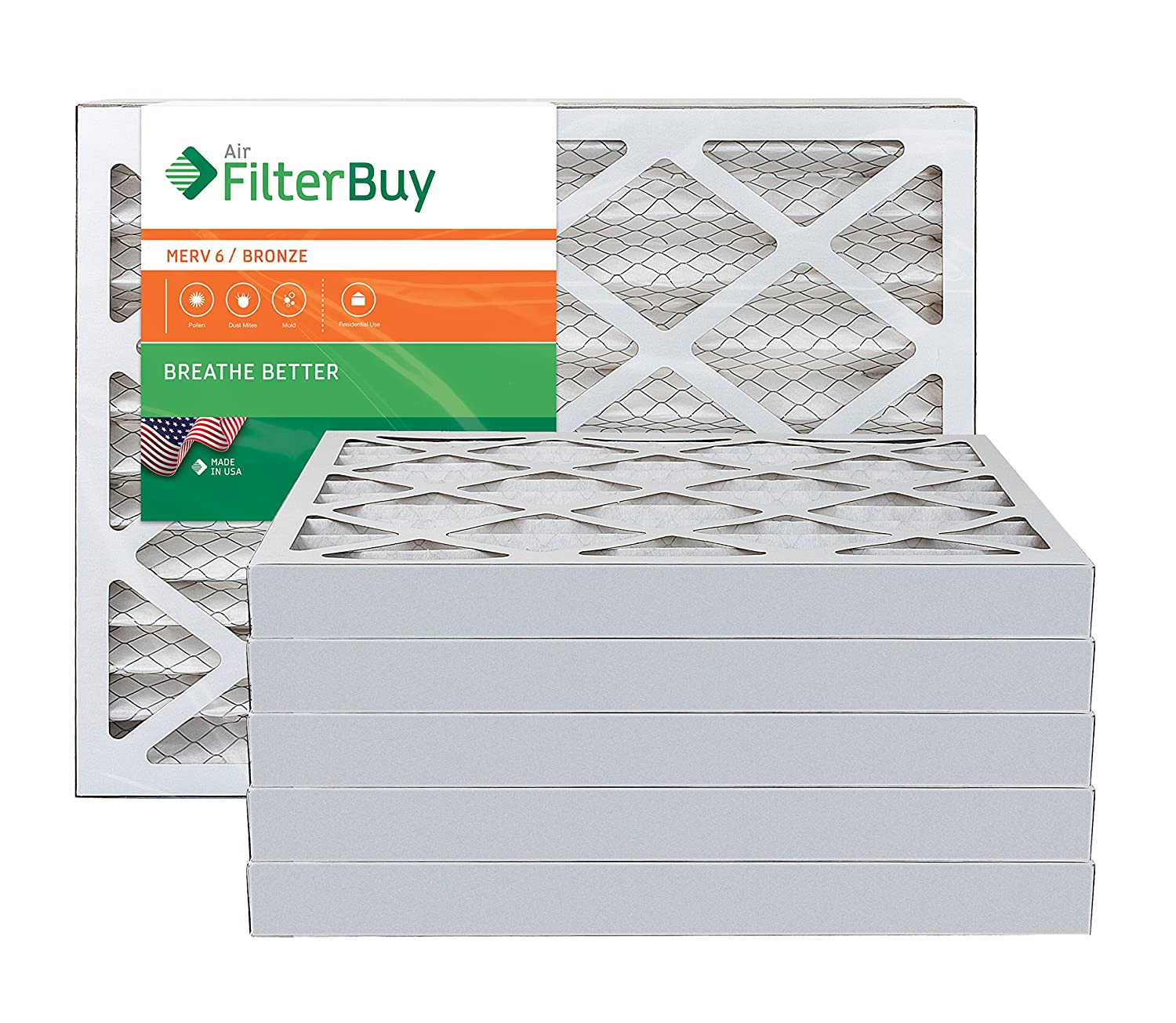AFB Bronze MERV 6 20x25x2 Pleated AC Furnace Air Filter. Pack of 6 Filters. 100% produced in the USA.