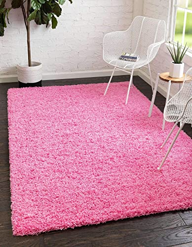 Unique Loom Solo Solid Shag Collection Modern Plush Taffy Pink Area Rug 8' 0 x 10' 0