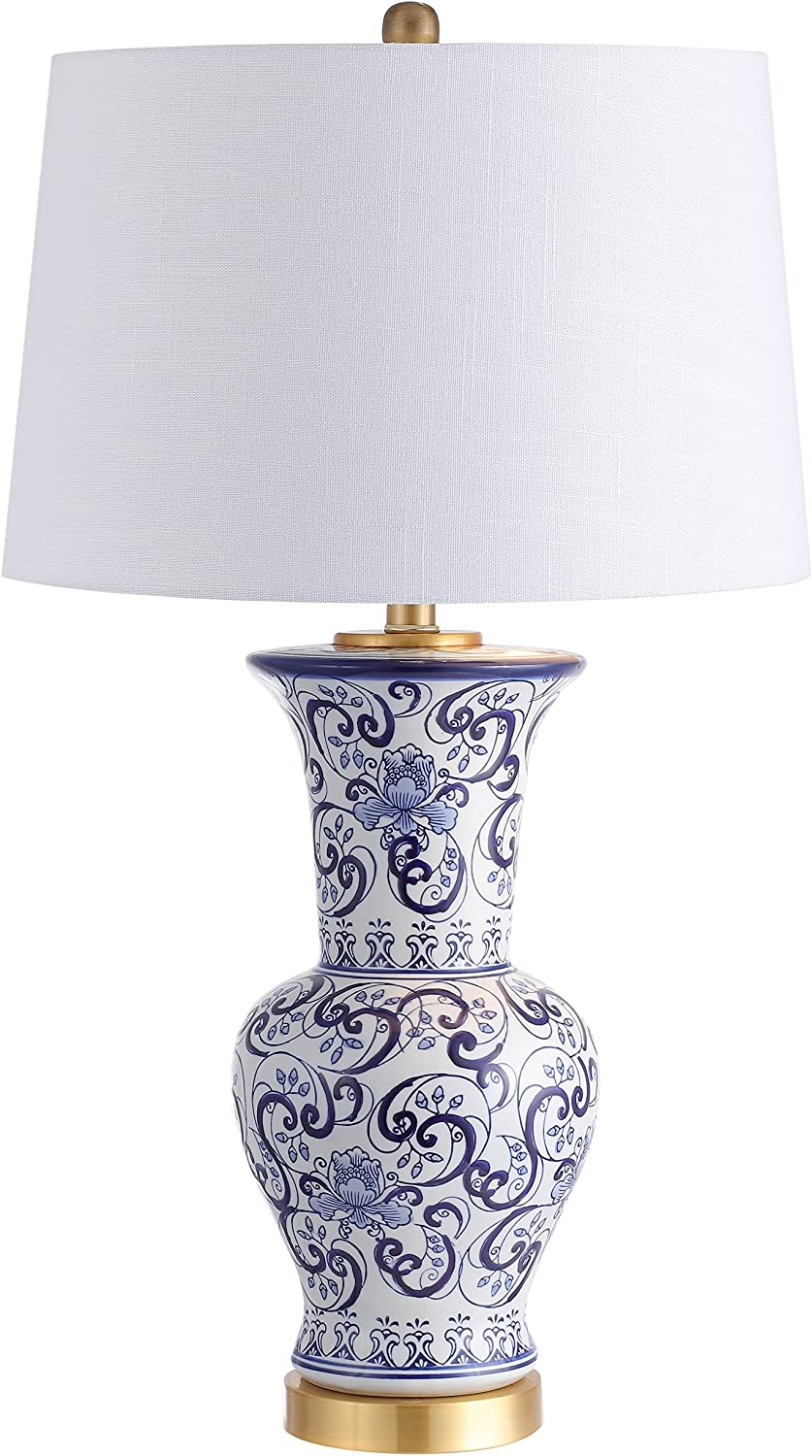 "JONATHAN Y JYL5014A Leo 28.5"" Chinoiserie LED Table Lamp Classic,Cottage,Traditional,Transitional for Bedroom, Living Room, Office, College Dorm, Coffee Table, Bookcase, Blue/White"