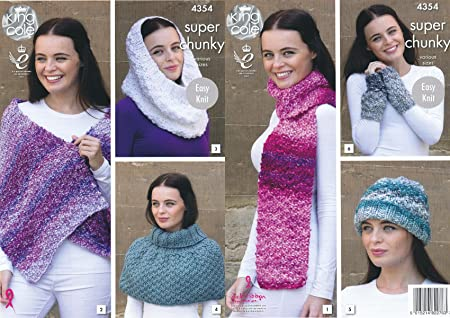King Cole Ladies Super Chunky Knitting Pattern Scarf Shoulder Wrap