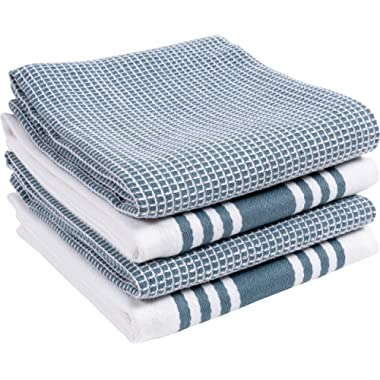 KAF Home KT-MADWF-SW-S4 Centerband and Waffle Flat Absorbent, Durable, Soft, and Beautiful Towels | Perfect for Kitchen Messes and Drying Dishes, 18 x 28 - Inches Blue
