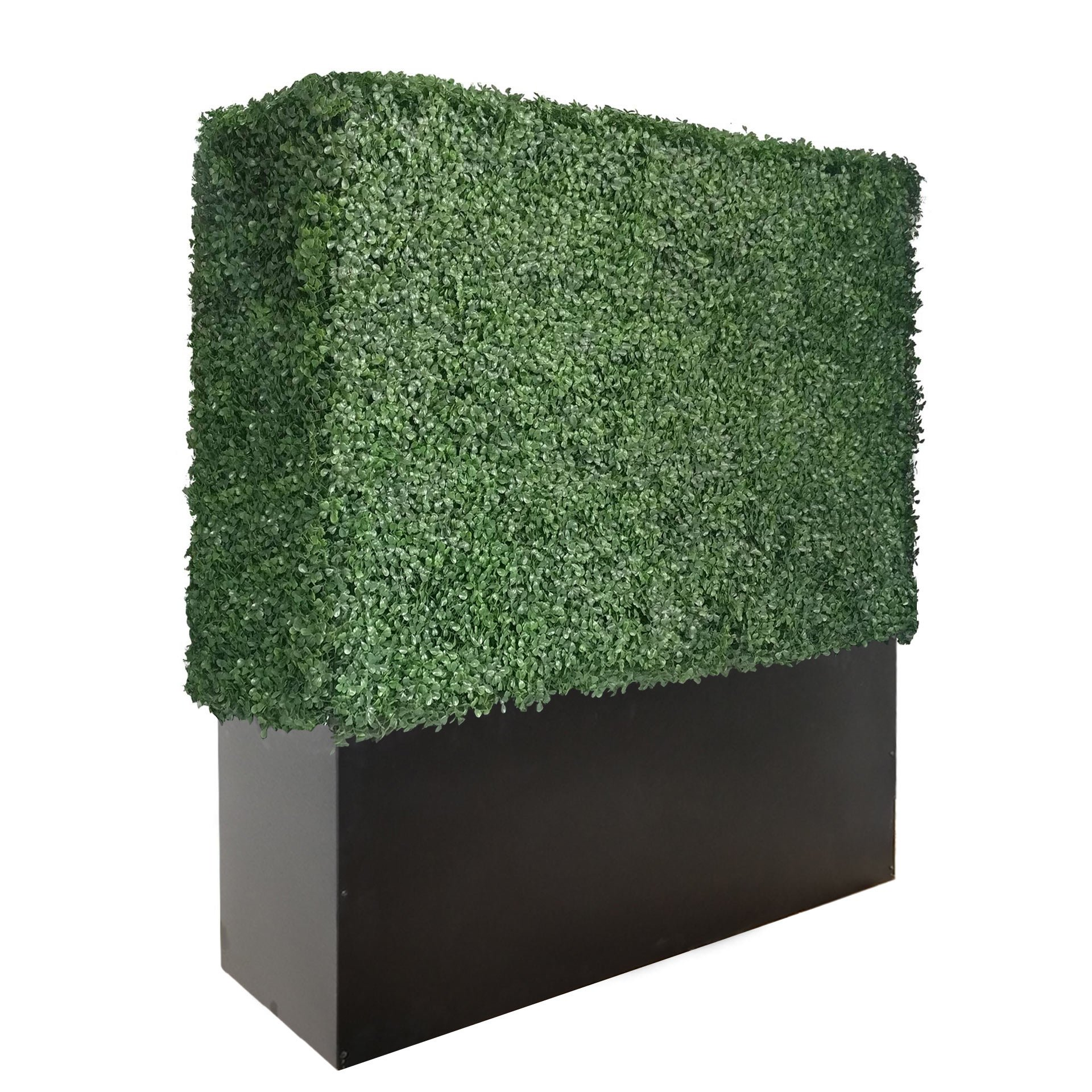 ARTIGWALL Artificial Boxwood Hedge Divider Wall With Black Stainless Steel Planter Box (48''H X 48''L X 12''D)