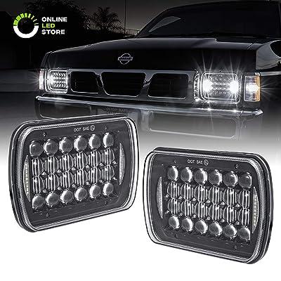7x6 5x7 LED Headlights H6054 H5054 [Black Finish] [DRL Built-in] [H4 Plug & Play] [Low/High Beam] - H6054LL 69822 6052 6053 Head Light for Jeep Wrangler YJ Cherokee XJ: Automotive