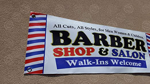 Amazon.com: Barber Shop & Salon - Cartel con diseño de salón ...