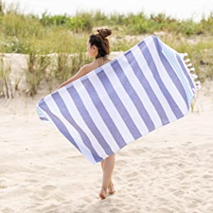 SUPERIOR Coastal Resort Oversized Beach Towel, 35x68, Dusky Blue