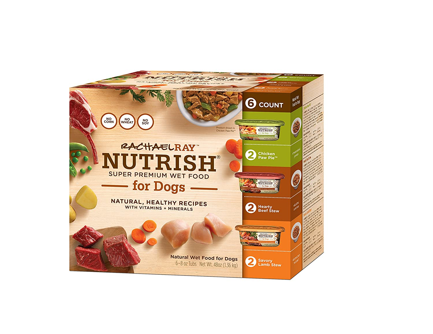 Rachael Ray Nutrish Natural Wet Dog Food, Grain Free, Single Pack of 6 - 8oz Tubs