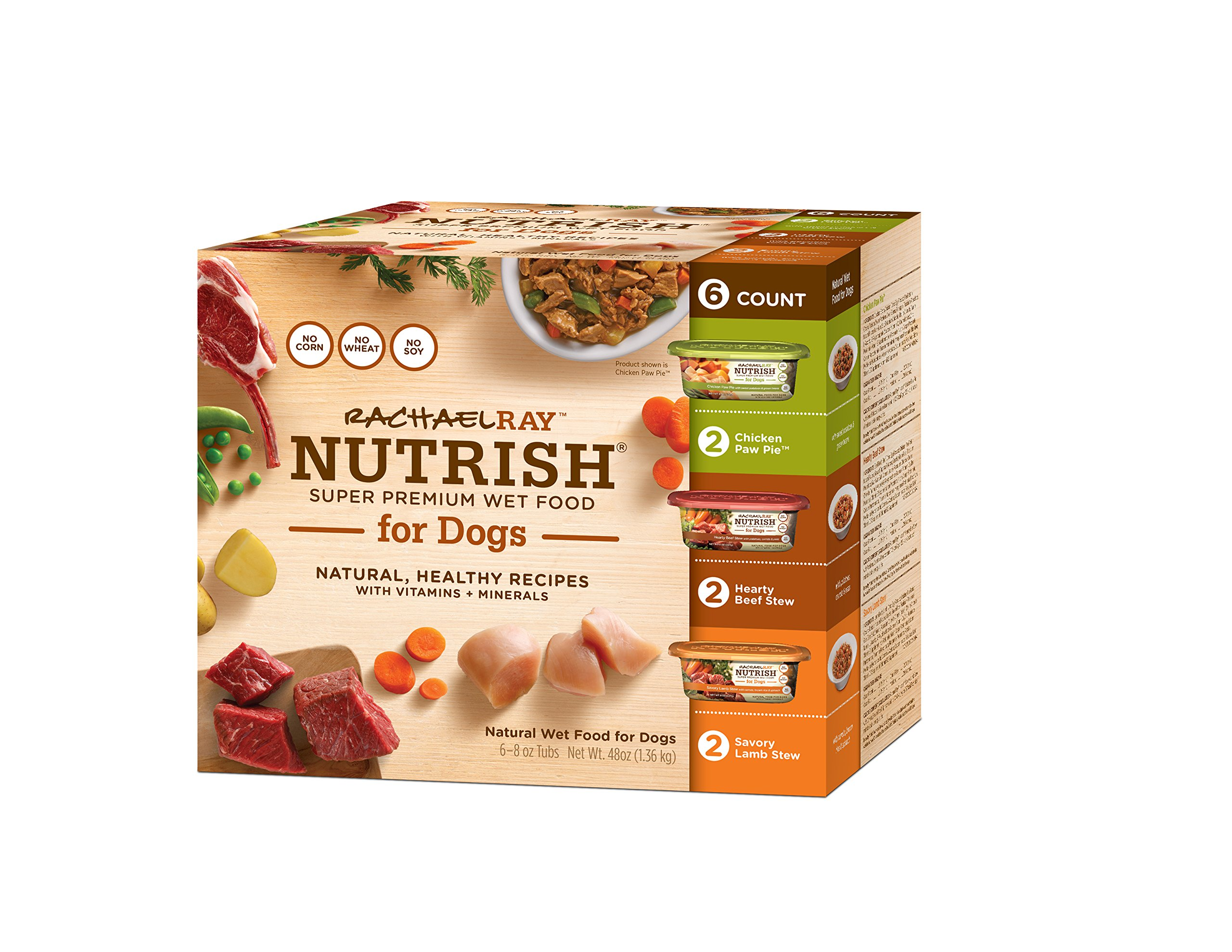 Rachael Ray Nutrish Natural Wet Dog Food Variety Pack 8 oz Tub (Pack of 6)
