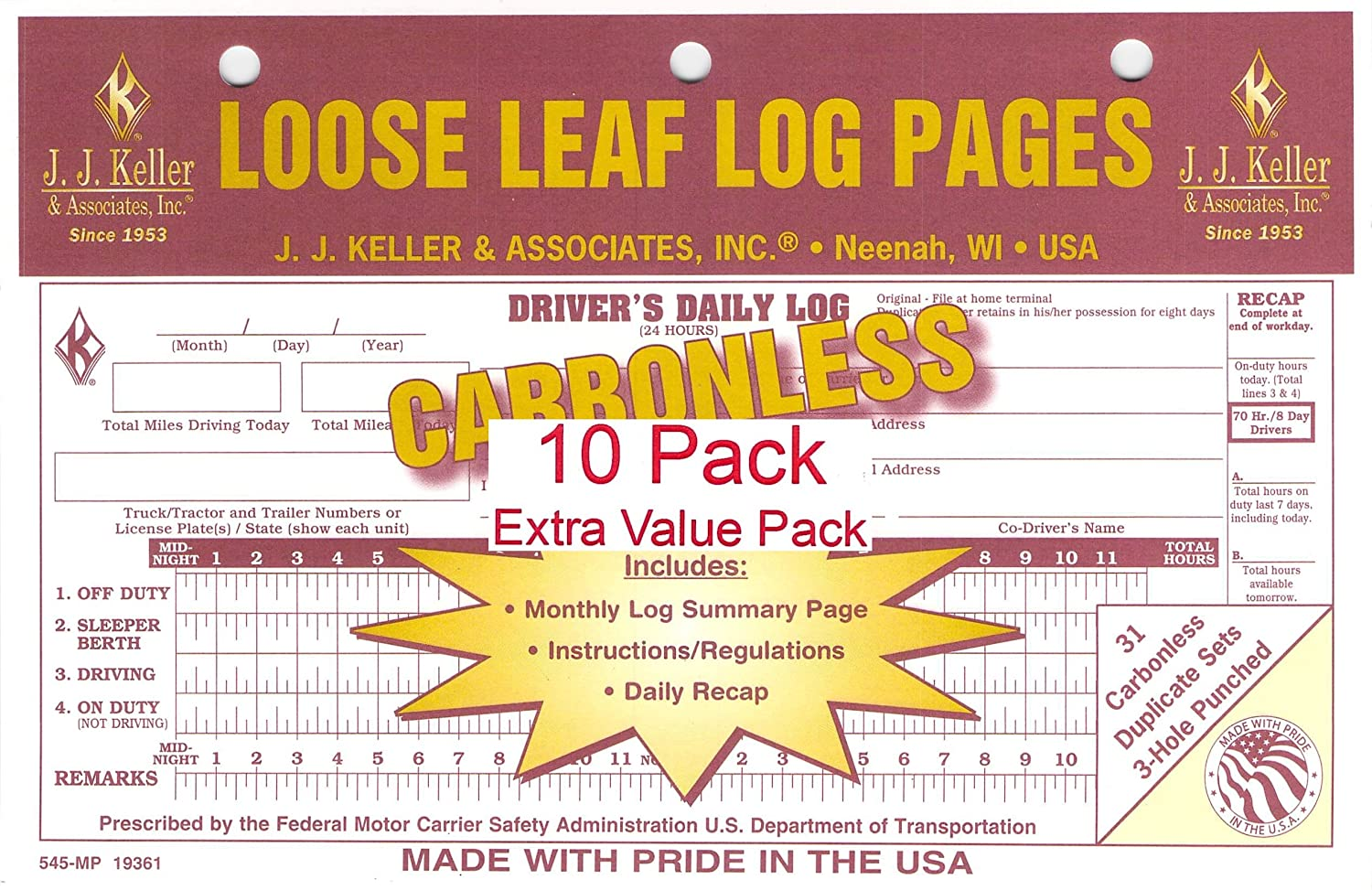 pack of 10 JJ Keller 19361 545-MP Loose-Leaf Drivers Daily Log Book w// 7 and 8 Day Recap