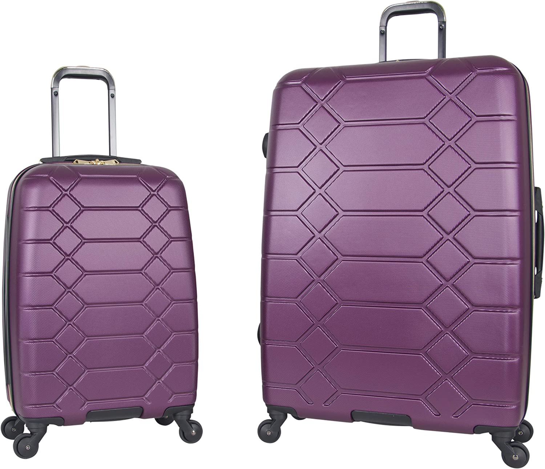 Black Aimee Kestenberg Diamond Anaconda Womens 24 Lightweight Hardside 4-Wheel Spinner Checked Suitcase