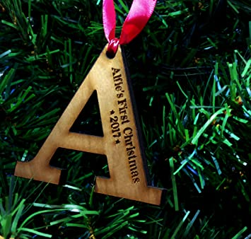 personalised childs first christmas tree decoration wooden letter gift present bauble
