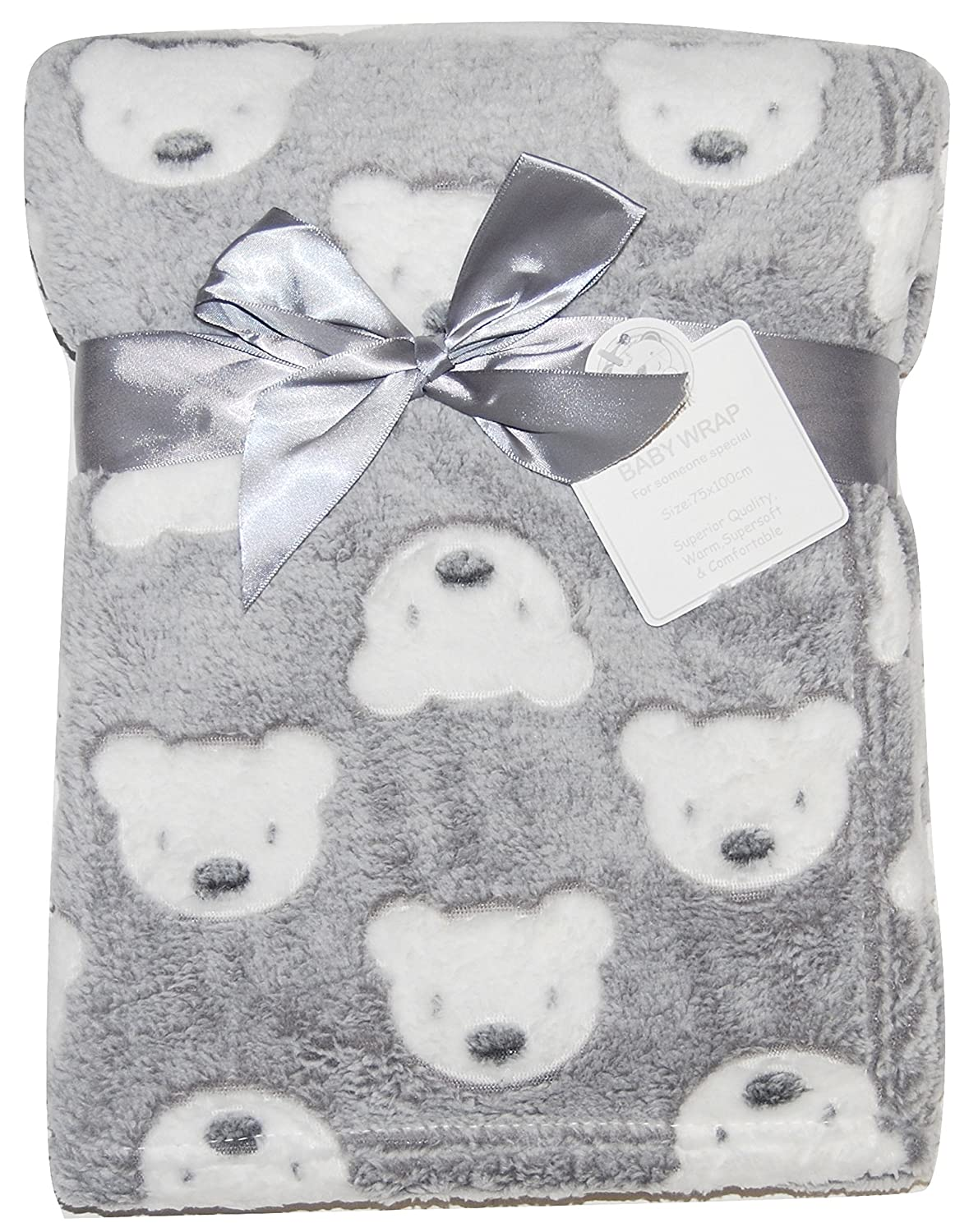 Baby Boy Girl Unisex Soft Fleece Wrap Blanket Pram Cot Crib Moses Basket Grey Teddy Snuggle Baby