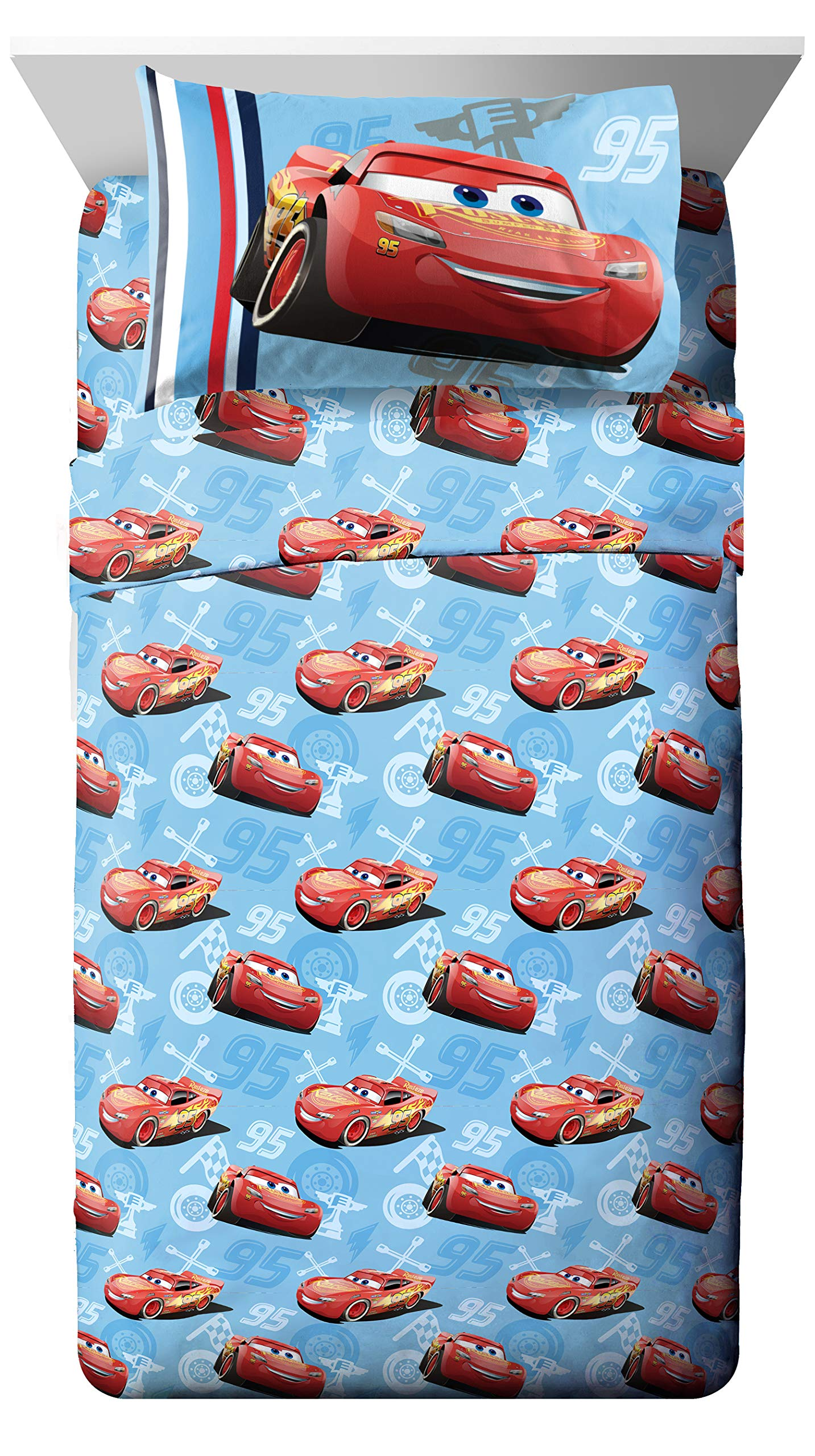 Jay Franco Disney/Pixar Cars 95 Full 4 Piece Blue Sheet Set with Lightning McQueen (Offical Disney/Pixar Product)