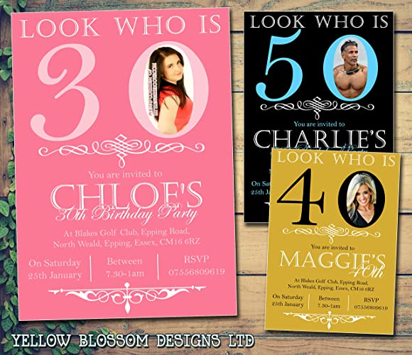 Personalised Printed Photo Look Who Is Invitation Adult Child Invite Boy Girl Male Female For Him Her Party 30th 40th 50th Gold Black White Pink
