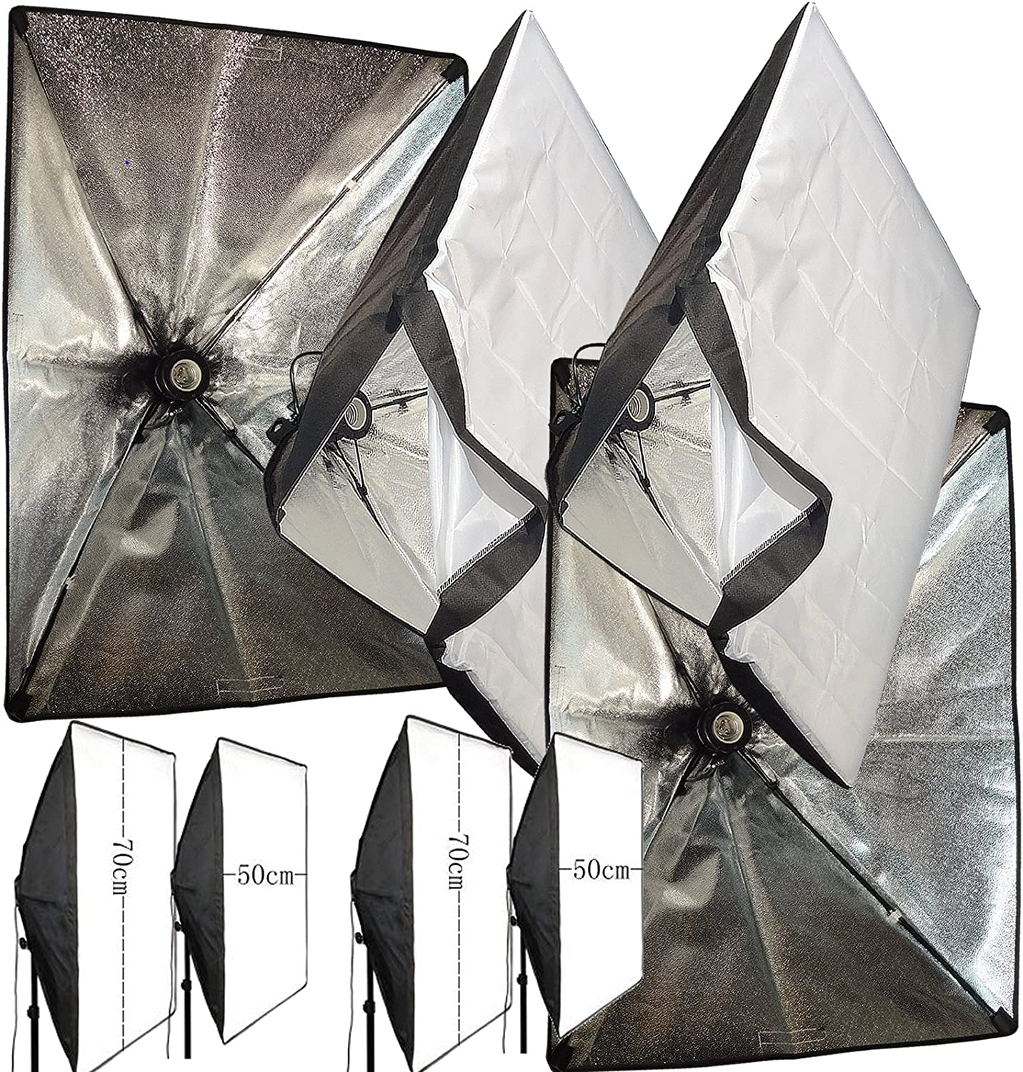 White 2 pack BlueDot Trading 50cm-softbox-1-bulb-2pk Photo Lighting Softbox 20 x 20 Inches with 1 Lamp Holder