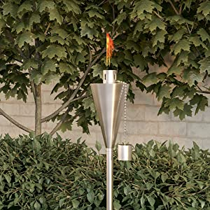 "Pure Garden 50-223 Outdoor Torch Lamp-46"" Patio/Backyard Stainless Steel Fuel Canister Flame Light for Citronella with Fiberglass Wick, Adjustable Height"